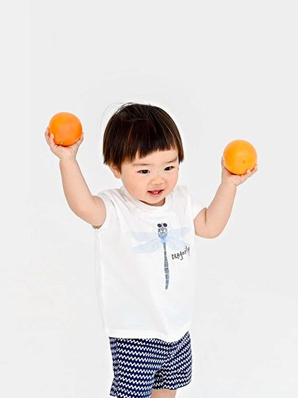 とんぼさんプリントTシャツ ホワイト キッズ オーガニックコットン使用