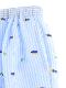 【大人も!かぶとむしくんリラックスパンツ】速乾・アイロン要らずな総刺繍ストライプ スカイ