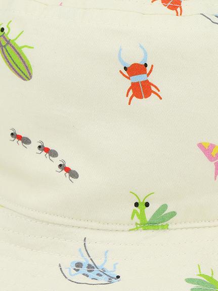 カイコガ&にぎやか昆虫リバーシブルハット オフホワイト