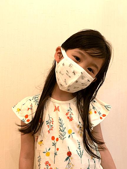 昆虫サイン・モノグラム こども用 日本製 ガーゼマスク 高品質コットン使用 今治生産 ホワイト