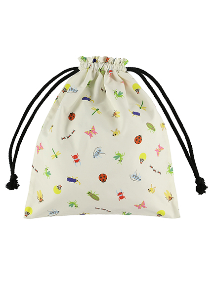 にぎやか昆虫巾着バッグ 総柄