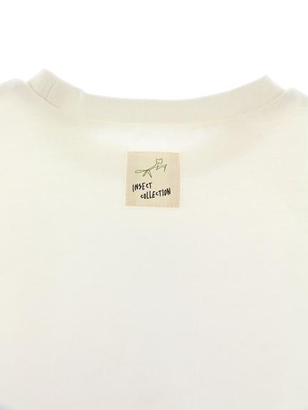 くわがたくんプリントTシャツ ホワイト キッズ オーガニックコットン使用