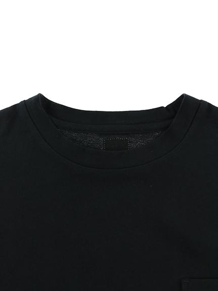 大人も暗闇で光る!蓄光ホタルワンポイントポケットTシャツ ビッグシルエット ブラック オーガニックコットン使用