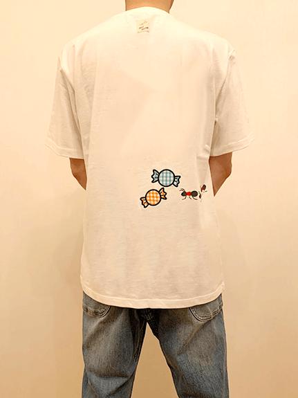 大人も!ありさんキャンディーアップリケ刺繍Tシャツ ホワイト オーガニックコットン使用