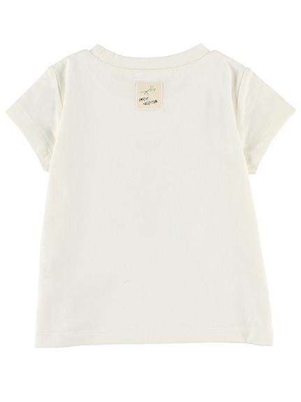 ちょうちょちゃんプリントTシャツ ホワイト キッズ オーガニックコットン使用