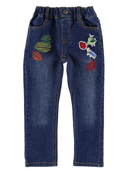 昆虫ワッペンカラフル刺繍デニムパンツ ブルー キッズ