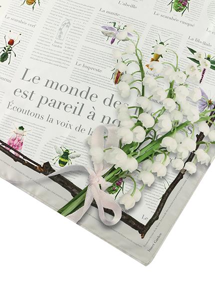 【予約商品】再生ポリエステル100% Encyclopedie大判スカーフ blanc【9月下旬発送予定】
