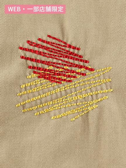 昆虫ワッペンカラフル刺繍サロペット ベージュ キッズ