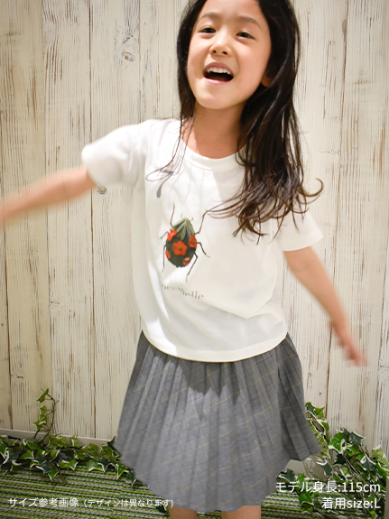 KODOMO Nombre プリント100%再生ペットボトルTシャツ ホタル1 blanc