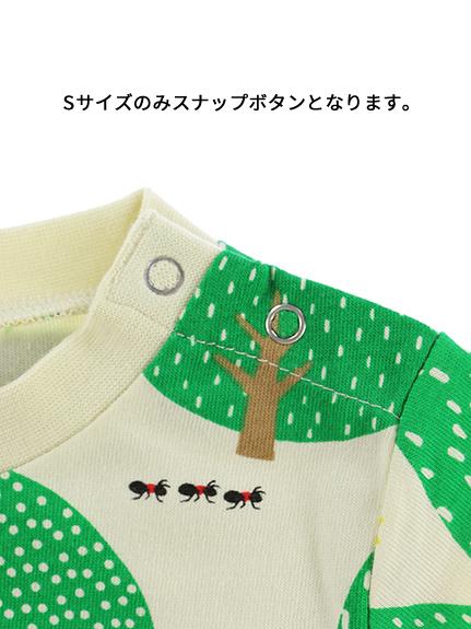 昆虫フォレスト長袖Tシャツ グリーン オーガニックコットン使用