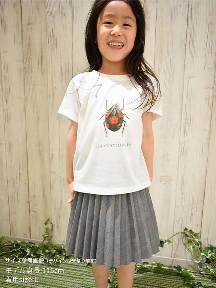 KODOMO Nombre プリント100%再生ペットボトルTシャツ トンボ4 blanc