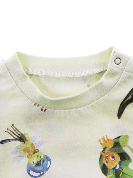 インセクトランドの仲間たちランダム大集合長袖Tシャツ ホワイト オーガニックコットン使用