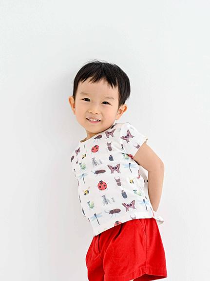 昆虫大集合Tシャツ ホワイト キッズ オーガニックコットン使用