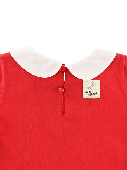 丸襟刺繍ワンピース はちちゃん レッド キッズ オーガニックコットン使用