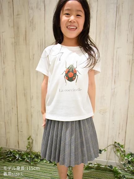 KODOMO Nombre プリント100%再生ペットボトルTシャツ テントウムシ7 blanc