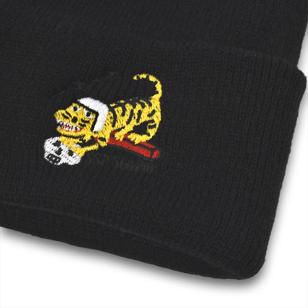 【SSP SLAPPY】 ニットキャップ -タイガー-  カラー:black   エスエスピー スラッピー 帽子 ビーニー  スケートボード スケボー SKATEBOARD