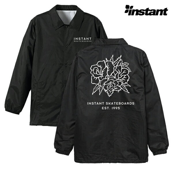 【instant】15 ROSE Coach Jacket  カラー:black/white  instant インスタント スケートボード スケボー ジャケット コーチ