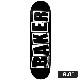 【BAKER】BRAND LOGO BLACK/WHITE 8.0インチ ベイカー デッキ スケートボード スケボー SKATEBOARD DECK