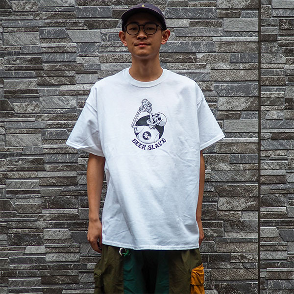 【BEER SLAVE】INSTANT TEE WHITE ビアスレイブ クージー スケートボード スケボー SKATEBOARD