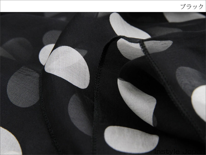 スカーフ シルク100% 大判 ストール マフラー シフォン ブラック ホワイトドット 大  B 黒 白 ホワイト 水玉 ドット 大粒 絹 天然素材 敏感肌 紫外線防止 UV 防寒 コンパクト パーティー ドレス Bサイズ:195×65cm