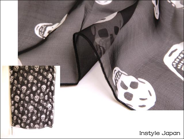スカーフ シルク100% 大判 ストール マフラー シフォン スカル BIG D 白 黒 ホワイト ブラック ドクロ 骸骨 絹 天然素材 敏感肌 紫外線防止 UV 防寒 コンパクト パーティー ドレス ショール Dサイズ:195×135cm