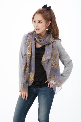 スカーフ シルク100% 大判 ストール マフラー シフォン エレガント B ピンク ブラウン ベージュ サーモン ホワイト グレイ 白 時計 絹 天然素材 敏感肌 紫外線防止 UV 防寒 コンパクト パーティー ドレス Bサイズ:195×65cm