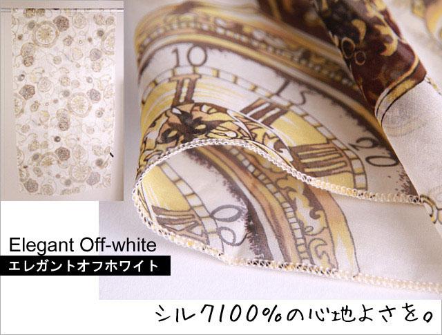 スカーフ シルク100% 大判 ストール マフラー シフォン エレガント ピンク・オフホワイト・グレー  E ベージュ ブルーグレー ブラウン 時計 絹 天然素材 敏感肌 紫外線防止 UV 防寒 パーティー ドレス Eサイズ:135×135cm