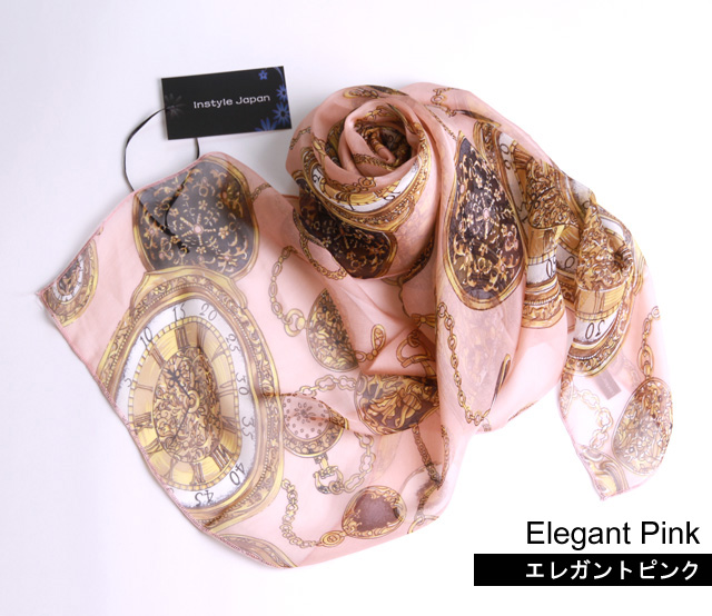 スカーフ シルク100% 大判 ストール マフラー シフォン エレガント ピンク・オフホワイト・グレー  A ベージュ ブルーグレー ブラウン 時計 絹 天然素材 敏感肌 紫外線防止 UV 防寒 パーティー ドレス Aサイズ:245×135cm