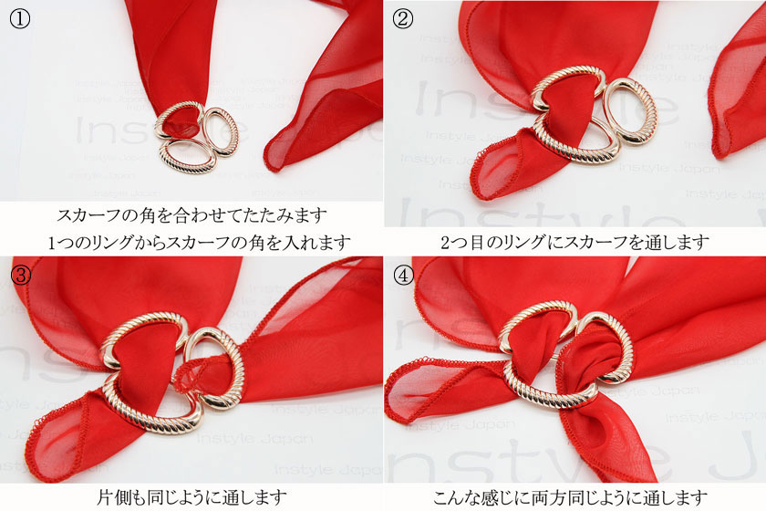 スリー ループ リング スカーフリング 楕円の三つ輪 螺旋の模様 アクセサリー スカーフアクセサリー ストールアクセサリー ゴールド シルバー おしゃれな普段使い パーティー 母の日