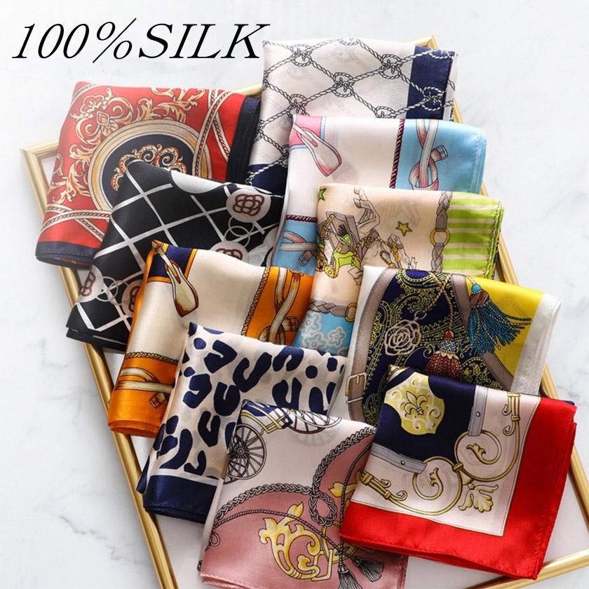 スカーフ シルク100% ストール 高級サテン 厚手 選べる12色 その他のサイズ:52×52cm 小さめサイズのスカーフ 首元やお手持ちのバッグなど 子供 キッズ こども つやあり 手かがり コンパクト ドレス ポケットチーフ