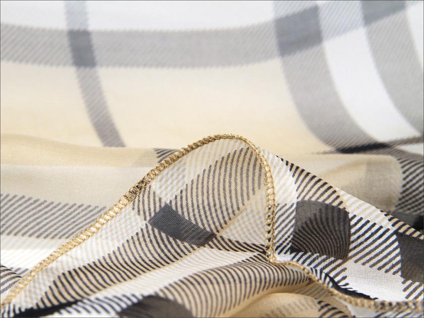 スカーフ シルク100% 大判 ストール マフラー シフォン 【ベージュチェック D】 茶 チェック 伝統 イングランド 英国 絹 天然素材 敏感肌 紫外線防止 UV 防寒 コンパクト パーティー ドレス 【Dサイズ:195×135cm】 送料無料