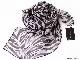 スカーフ シルク100% 大判 ストール マフラー シフォン 【ゼブラ D】 アニマル シマウマ 縞馬 ブラック 黒 大人 絹 天然素材 敏感肌 紫外線防止 UV 防寒 コンパクト パーティー ドレス ショール 【Dサイズ:195×135cm】 送料無料