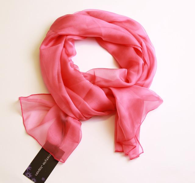 スカーフ シルク100% 大判 ストール マフラー シフォン 【紫みのピンク B】 Purplish pink  ピンク 紫 ぶどう 絹 天然素材 敏感肌 紫外線防止 UV 防寒 コンパクト パーティー ドレス ショール 【Bサイズ:195×65cm】 送料無料