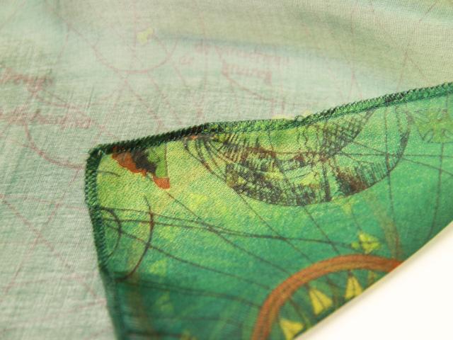 スカーフ シルク100% 大判 ストール マフラー シフォン 【大航海風 B】 アンティーク 地図柄 古地図 グリーン 緑 green 海 船 黄緑 絹 天然素材 敏感肌 紫外線防止 UV 防寒 コンパクト パーティー ドレス 【Bサイズ:195×65cm】 送料無料