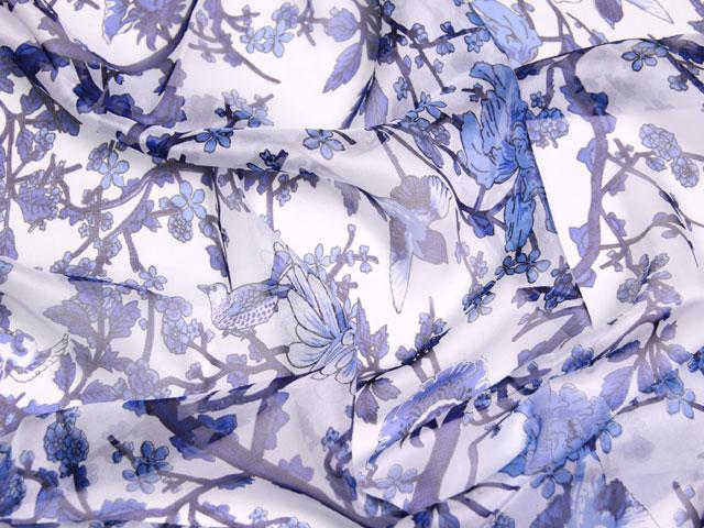 スカーフ シルク100% 大判 ストール マフラー シフォン 春の鳥 B 花鳥 青 ブルー 桃 梅 小鳥 絹 天然素材 敏感肌 紫外線防止 UV 防寒 コンパクト パーティー ドレス ショール Bサイズ:195×65cm