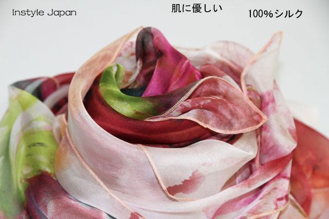 スカーフ シルク100% 大判 ストール マフラー シフォン 暖春 A ブルー 青 赤 ピンク 花 フラワー 絹 天然素材 敏感肌 紫外線防止 UV 防寒 コンパクト パーティー ドレス ショール Aサイズ:245×135cm
