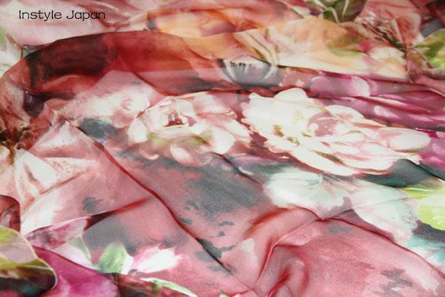 スカーフ シルク100% 大判 ストール マフラー シフォン 【暖春 D】 ブルー 青 赤 ピンク 花 フラワー 絹 天然素材 敏感肌 紫外線防止 UV 防寒 コンパクト パーティー ドレス ショール 【Dサイズ:195×135cm】 送料無料