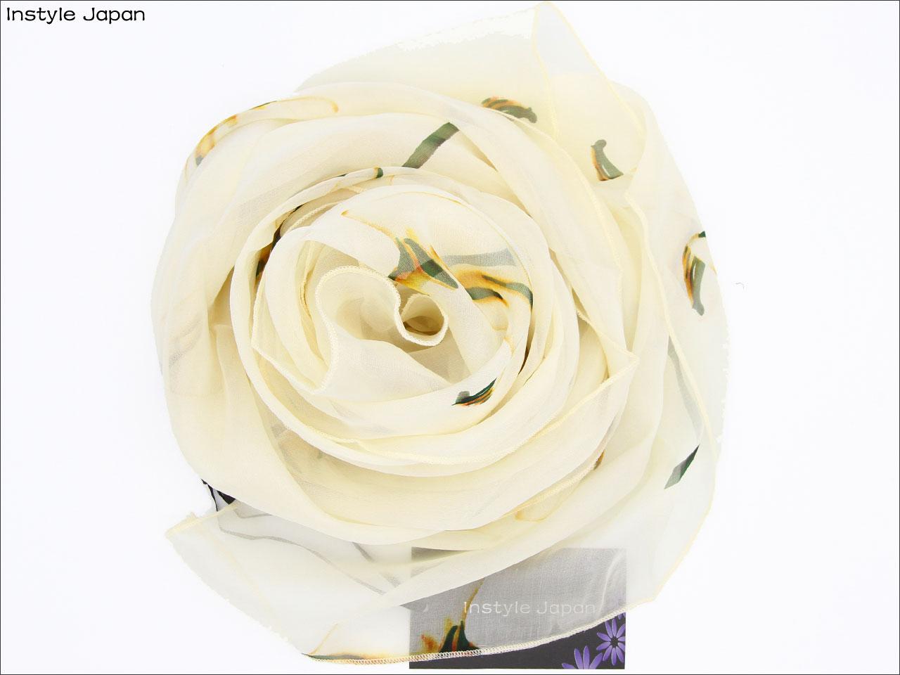 スカーフ シルク100% 大判 ストール マフラー シフォン カラー B リリー ゆり 百合 calla lily Arum 白 花 ブライダル フォーマル セレモニー 絹 天然素材 敏感肌 紫外線防止 UV 防寒 コンパクト パーティー ドレス Bサイズ:195×65cm