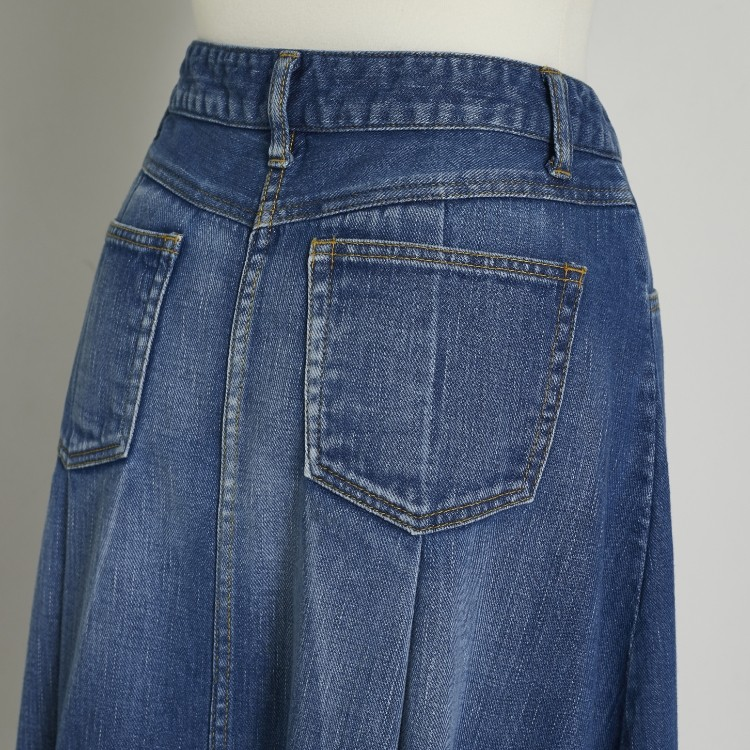 Cut off Denim Tuck Skirt