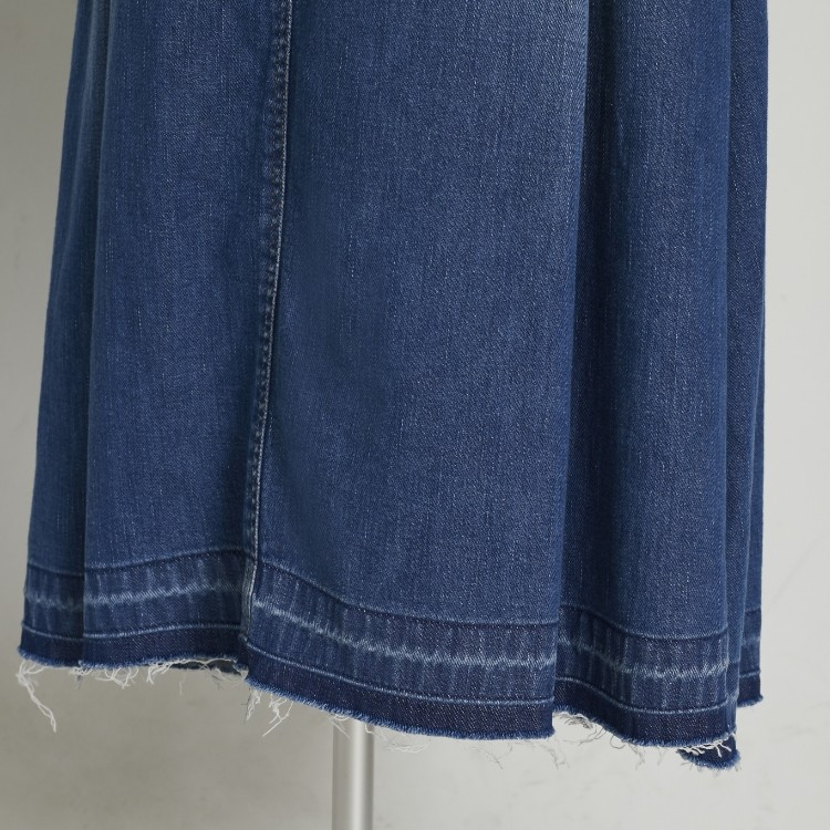 Cut off Denim Tuck Skirt