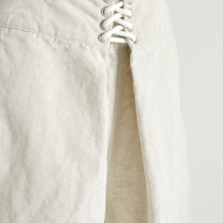 Cotton Linen Lace Up Wide Pants