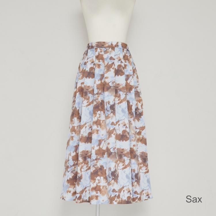 【2021AW NEW】Blurred Print Tuck Skirt