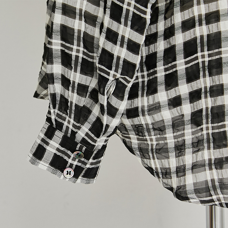 Shirring Check Wide Shirt
