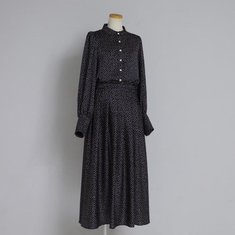 Dot Tuck Satin Skirt
