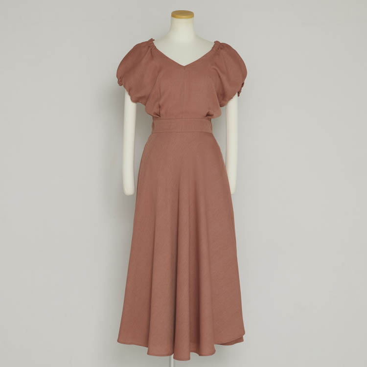 【2021SS NEW】Linen Like Puff Sleeve One-piece