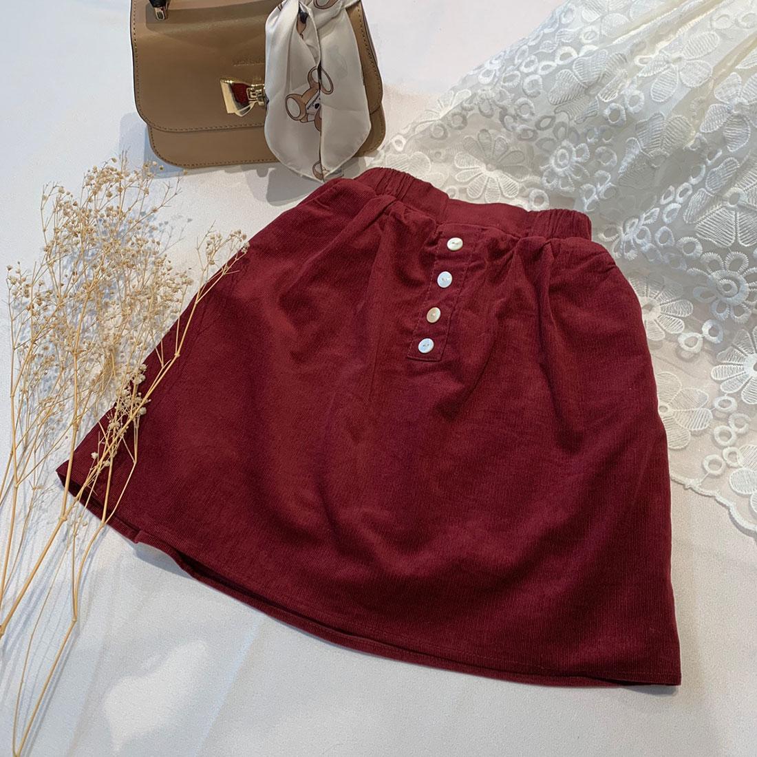 コーデュロイボタンフレアスカート