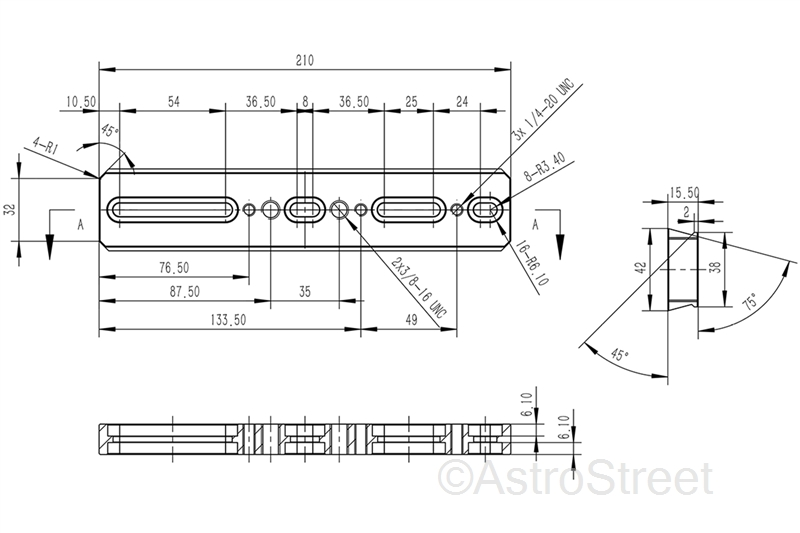 WilliamOptics 210mm アリガタプレート ビクセン/Synta規格 アルカスイス規格 両対応