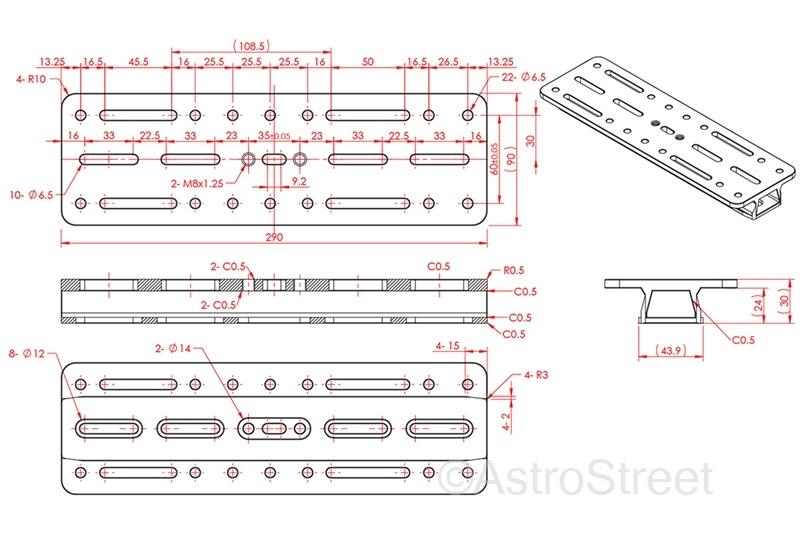 WilliamOptics 290mm ロングバージョン アリガタプレート ビクセン/Synta規格