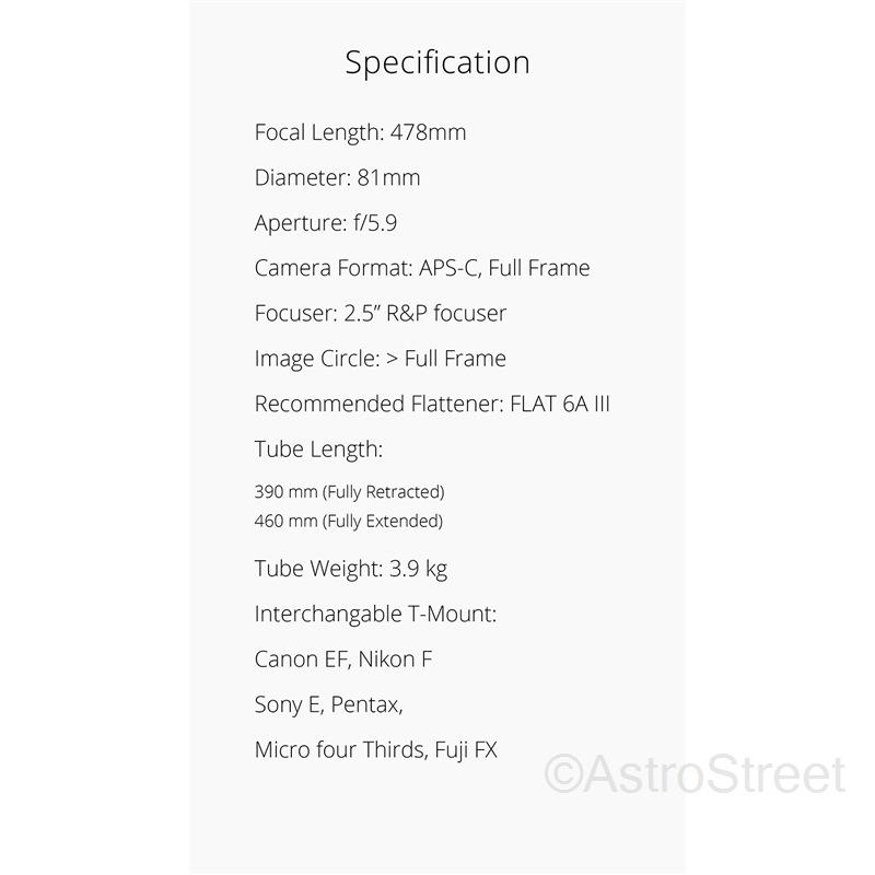 WilliamOptics GT81 IV F5.9 Gran Turismo Imaging APO屈折鏡筒 FPL53