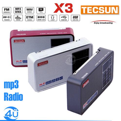TECSUN - X3/レッド(FMラジオ+260曲入りmicroSDカードメモリープレーヤー)《JP》
